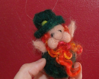 Tiny felted leprechaun ornament