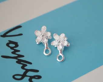 1 Pair, Bail, Ice-pick Bail, Jewelry Bail, Pendant Bail, Bail for Earrings or Necklace, Flower-shape Bail, 925 Sterling Silver