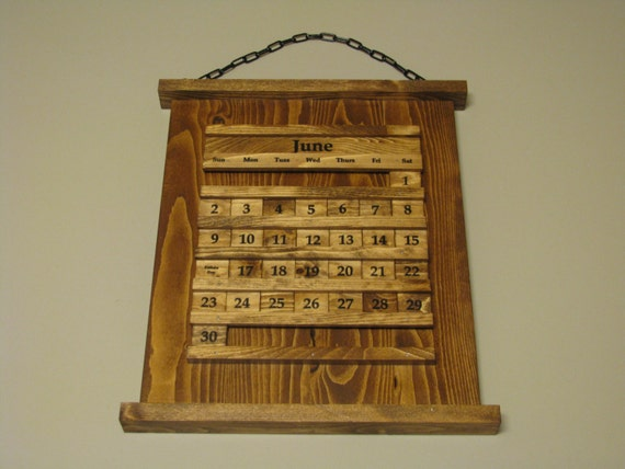 Perpetual wood calendar wall rustic reclaimed by wheelersplace - Wooden perpetual wall calendar ...