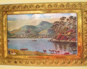 Vintage Brass Embossed Frame Foil Picture Photo Country Scene England Home Decor Retro Home Wall Hanging Foil Print
