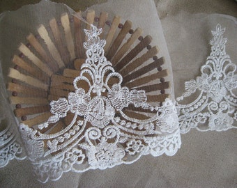 Off White Lace Trim, Vintage Embroidered Bridal Lace, scallop trim lace, Wedding lace, 2 yards WSCX24B