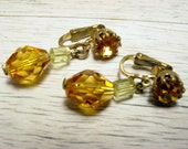 Vintage Amber Color Crystal and Rhinestone Dangle Earrings (retro clip 40s 50s 60s gold tone yellow orange marked Austria wedding bridal)