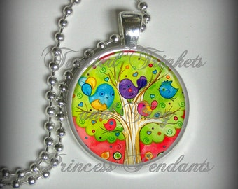 Tree Pendant, Bird Pendant, Watercolor Necklace Pendant, Flower Pendant, Art Pendant (p162)