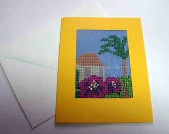 Blank Greeting Card. Cross Stitch Art Card.  Cross stitch cards for all occasions. Birthday Card.  SALE. HALF PRICE