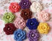 12 Crochet Flowers With Pearls In Multicolor YH-011-28