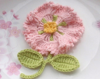 Crochet Flower With Leaves In Lt pink, Green, Yellow YH-092-02
