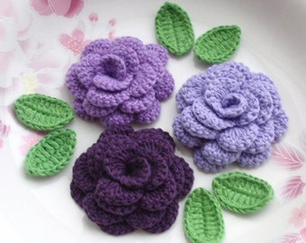 3 Crochet  Flowers (Roses) With Leaves YH - 142-02