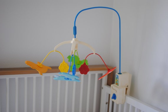 vintage crib mobile fisher price dancing animals. Black Bedroom Furniture Sets. Home Design Ideas