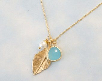 Gold Leaf Necklace. Ocean Blue Framed Glass & Pearl Necklace. Bridesmaid Gift.