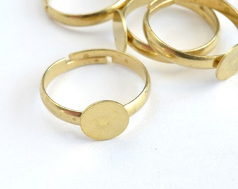 Gold Ring Blanks, Adjustable Rings, 10 mm Pad - 10 pieces (FG-RING003)