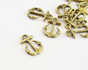 Brass Anchor Charms - 10 pieces