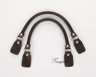 1 Pair 16.5 inch Synthetic Leather Bag Handles - Chocolate Brown FD004