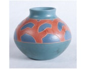 Ceramic Art, Earthenware Collectible Pottery, Turquoise and Earth Tone Geometric Design
