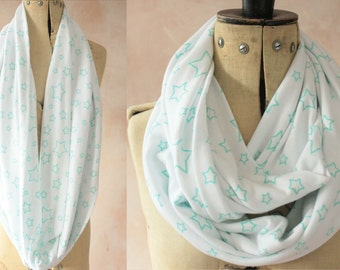 Eternity scarf - Infinity scarf, Circle scarf, Jersey scarf, Tube scarf, Loop scarf, Snood, T-Shirt scarf -  Green Stars