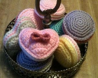 Set of 2 Crochet Heart-Shaped French Macarons Amigurumi