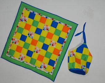 Baby Quilt with Tote/Carry-All, Painted Hands