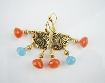 Orange and Blue earrings, orange carnelian earrings, sky blue chalcedony earrings, chandelier earrings, dangle earrings, handmade jewelry