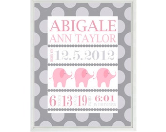 Nursery Art Print Birth Stats - Elephant - Personalize Baby Name - Gray Pink Decor - Baby Room - Custom Wall Art -  print