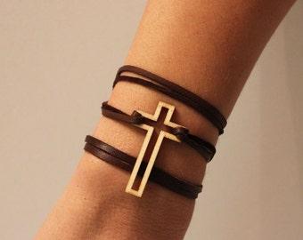 Cross Bracelet Leather Wrap Bracelet Laser Cut Wood States of Love