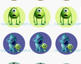INSTANT Download!!! Monsters Inc, Disney Bottle Cap Image- DIGITAL-Tags-Cupcake Toppers-Scrapbooking and More.