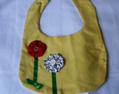 Baby Bib Yellow with Red & Blue Flowers Appliqued Bib