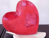 Crimson Owl Bowls - Heart Shaped Rustic Bowls - Handcrafted Polymer Clay Art