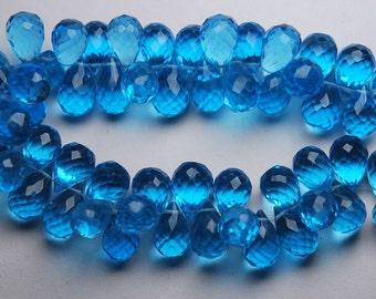 New Arrival,15 Pec,Superb-Finest Quality,Swiss Blue Quartz Faceted Drops Shape Briolettes,10-11mm size,