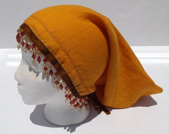 76 Princess Sarah 100% Linen Autumn Gold Beaded Snood Head Covering Scarf with Cranberry Decorative Stitching