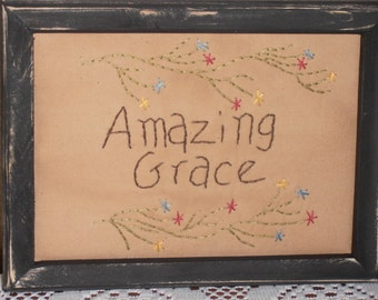 Amazing Grace, Framed Primitive Stitchery, Home Decor, Cabin Decor, Rustic