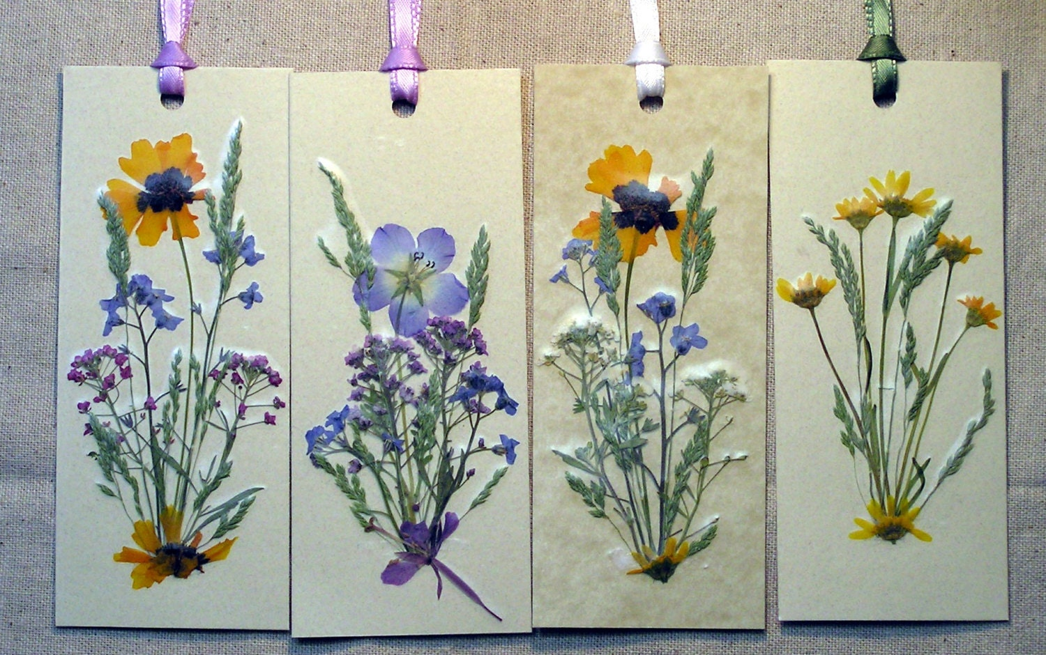 Set of pressed flower bookmarks made with by