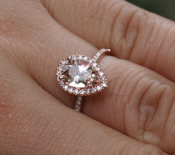 14k Rose Gold 9x6mm Morganite Pear and Diamonds Wedding or