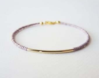 Gold bar bracelet - friendship bracelet - Purple