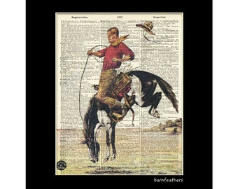 Vintage Dictionary Art Cowboy on Bucking Horse Print Book Page Art Print No. P154
