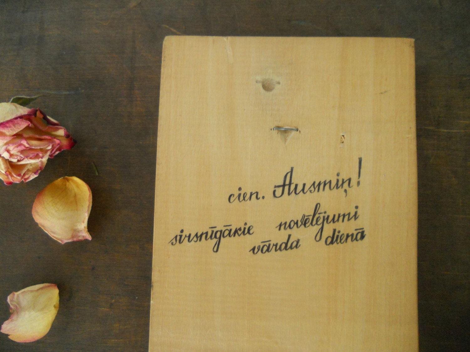Soviet vintage wall plaque Handpainted wall decor with roses Wooden ...