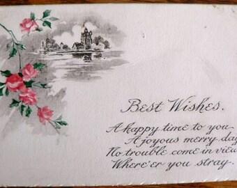vintage POSTCARDS ... Floral BEST WISHES poem front stamped 1915  ...
