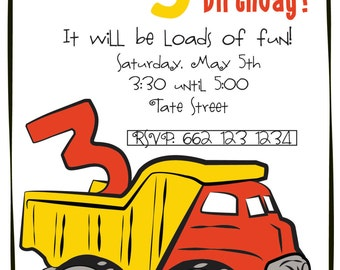 Construction Themed Birthday Invitation
