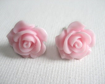 BUY 5 GET 1 FREE Pink Rose Stud Earrings. Resin Cabochon Rose. Pink Earrings. Stud Earrings.