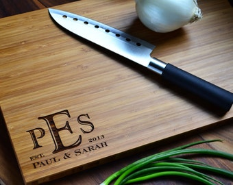 """Personalized Cutting Board Engraved Bamboo Wood """"Monogrammed Corner"""" for Wedding, Anniversary gift"""