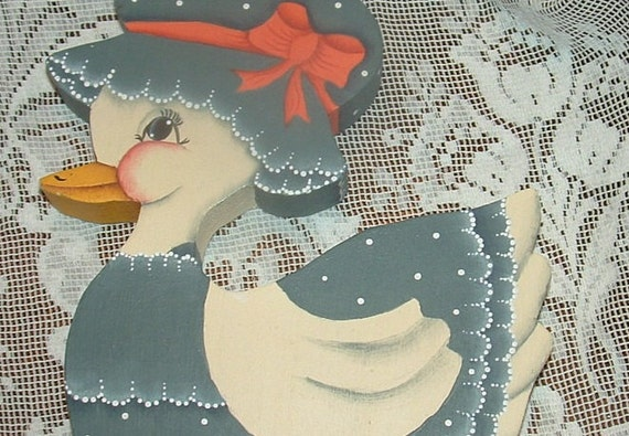 Wooden Folk Art Duck /Goose Hand Painted White with Country Blue