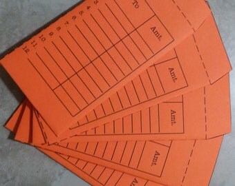 Handmade cash envelopes to use with the Dave Ramsey System. Bright Orange