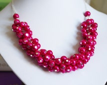 Hot Pink Necklace, Pearl Cluster Necklace, Pearl Jewelry, Bridesmaid Gift, Hot Pink Necklace, Bridal Jewelry, Fuchsia Necklace