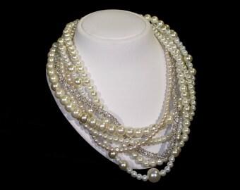 Wedding Pearl Necklace, Ivory Glass Pearls, Rhinestone, Handmade, Wedding Jewelry, Bridal Jewelry, Bridal Pearl Necklace