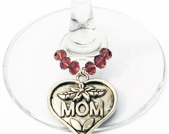 Wine Charm For Mom, Gift  For Mom, Glass Tag, Wine Glass Marker, Wine Glass Charm, Holiday Gift For Mom, Stocking Stuffers, Hostess Gift