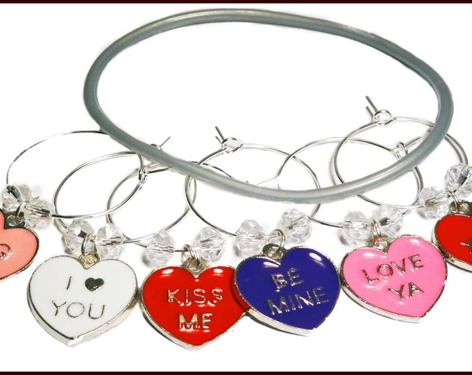 Valentine's Day Gift Wine Charms - With Be Mine Gift Tag And Gift Bag 6/pack