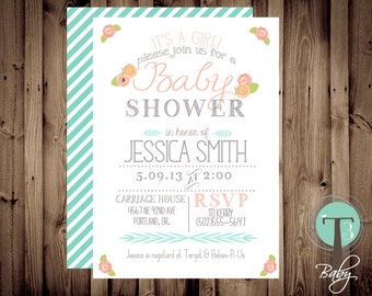 Baby Shower Invitation, BABY GIRL, Floral, Shabby Chic, Baby Shower,invite, Invitation, 1046