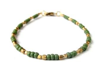Boho Bracelet Dainty Seed Bead Bracelet - Army Green - Boho Jewelry Bohemian Jewelry Ethnic Jewelry Tribal Jewelry Simple Stackable Bracelet
