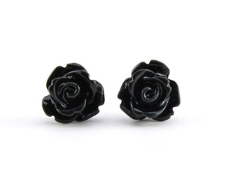 Tiny Black Rose Earrings, Halloween Jewelry, Bridesmaids Gift, Under 5