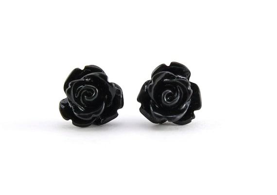 Tiny Black Rose Earrings, Halloween Jewelry, Bridesmaids Gift, Under 5
