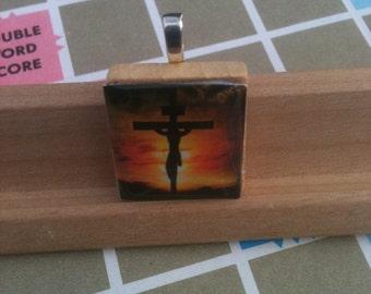 Crucifixion of Christ Scrabble Tile Pendant