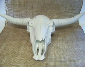 Faux Taxidermy Longhorn Skull - Mancave Decor - Rustic Wall Hanging